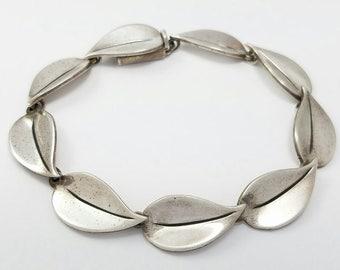 Vintage John Lauritzen Denmark Sterling Silver Leaf Bracelet