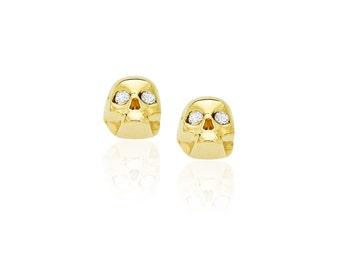 Micro Diamond Skull Studs Skulls Earrings Gold