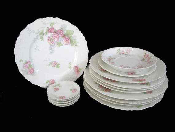Antique Limoges 14pc Matching Luncheon Plates, Salad Plates and Butter Pats,  Jean Pouyat, JPL Limoges, Pink Floral Limoges