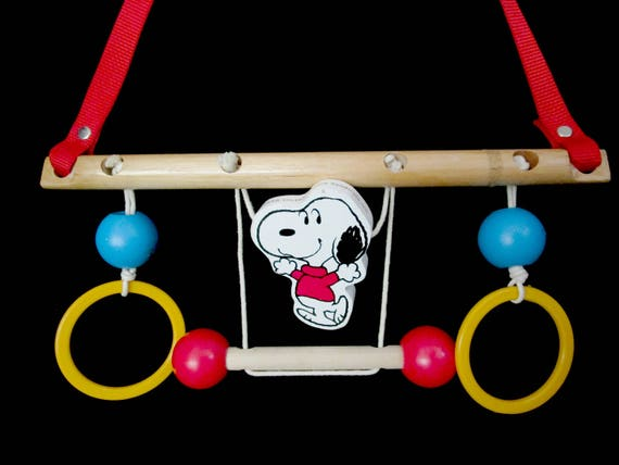 Snoopy Crib Mobile, 1950s Nursery Original, Mid Century Snoopy Hanging Crib Mobile