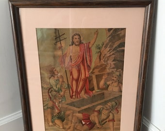 Antique 19c oil on board glass framed Jesus has Risen from the Dead Easter
