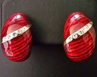 Jackie Kennedy Enamel Earrings - Red Clip Ons with Crystals, Box and COA