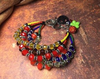 Colorful Crystal Chunky,  Bracelet