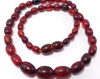 Polished Natural Cognac Amber Beads Necklace 13.4 Grams