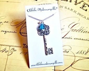 Alice in wonderland key necklace, fairytale inspired necklace, vintage necklace
