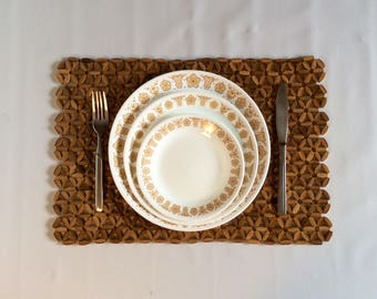 Vintage Wooden Bead Woven Placemat Trio