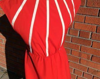Vintage 1960's Sears Dress / red / white
