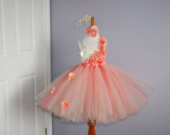 Peach, Coral and Ivory Hydrangea Tutu Dress