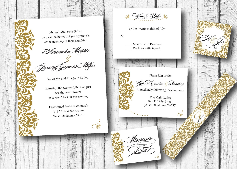 Damask Gold wedding invitation,Classy wedding invitation, wedding ...