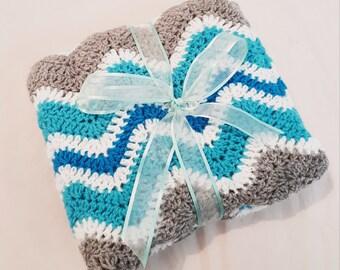 CUSTOM Ripple Crochet Baby Blanket (travel stroller, pram size)