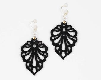 "Laser Cut Leather Earrings - ""Teardrops"" design in Black and White"