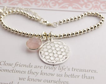 Sterling Silver BEAD bracelet with life flower, Rose Quartz