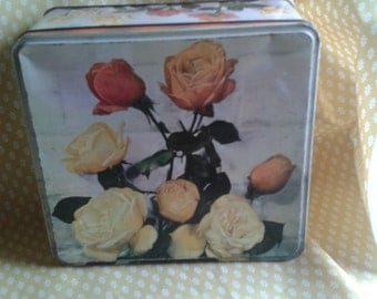 Nineteen Sixties Vintage Rose Biscuit Tin