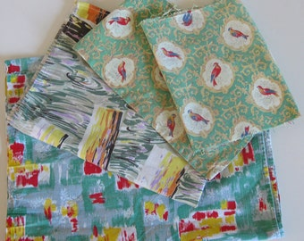 Green cotton fabric pack of 4 French mid century printed fabrics