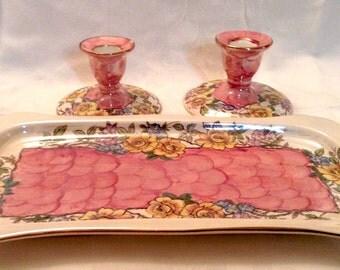 MALING Newcastle On Tyne England, Rosina Pattern, Pink Thumbprint Dresser Set/Vanity Set Tray and two Candle Holders