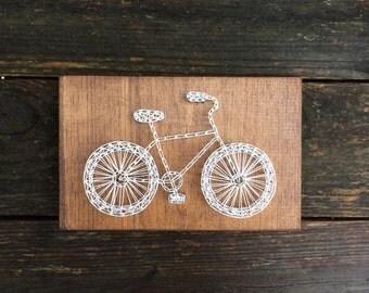 Beach Cruiser Bicycle Bike Handmade Rustic Wood String and Nail Art Sign