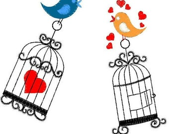 Love Birds Embroidery Design | Make yourself my love Full Embroidery Pattern