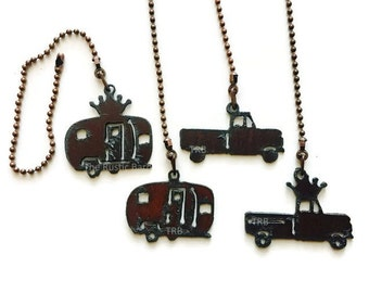 CEILING FAN PULL Trailer or Truck or with Crown charm size made of Rusty Rustic Recycled Metal