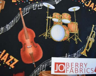 Music Instruments from the Live Jazz Collection by Elizabeth Studio.  Quilt or Craft Fabric, Fabric by the Yard.