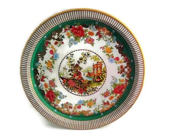 Vintage Daher Green and Gold Floral Serving Tray/ Daher Decorated Ware/ Made in England/ Vintage Springtime Decorative Tray/ Collectible Tin