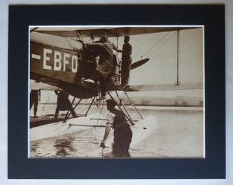 1930s Antique British Aviation Print, Alan Cobham Decor, Available Framed, Biplane Art, de Havilland DH.50 Picture, Old Airplane Photography