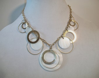 Park Lane Circle Shell Necklace Round Disc Signed Costume Jewelry Gold Tone
