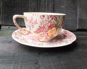 Vintage Old English Chintz, Johnson Bros. England, Cup and Saucer, 1940s Victorian Chintz, Transferware, Floral Transferware