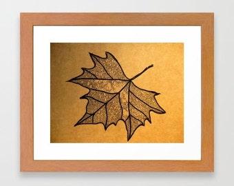 leaf drawing, drawings, for framing, modern art, modern home, minimalist art, drawing, brown paper, australian art, brown art, chic art, A4