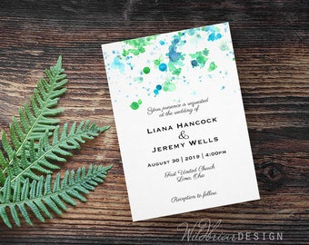 Watercolor Printable Wedding Invitation, Paint Splatter, blue green