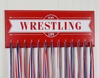 Wrestling Gifts - Medal holder rack display wrestling school sports medals