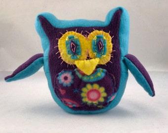 Owl Plush, owl toy, blue owl, owl stuffed animal, fleece owl, Eco Purse Project, cartoon owl