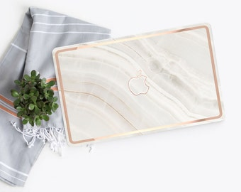 Platinum Edition White Marble Stone with Rose Gold Edge Detailing Hybrid Hard Case for Apple Macbook Air & Mac Pro 13 Retina