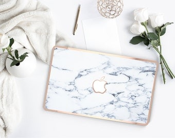 Platinum Edition Bianco Sivec White Marble with w/Rose Gold Edge Hybrid Hard Case for Apple Mac Air & Mac Retina , New Macbook 2016