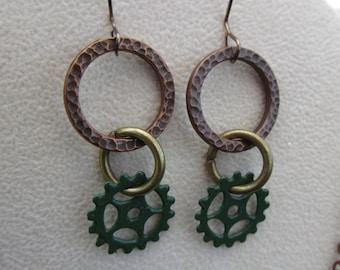 Steampunk enameled gear and hammered metal earrings