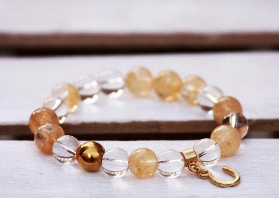 Rutilated quartz bracelet, Mountain crystal bracelet, Stainless steel bracelet, Gemstones bracelet, Horseshoe bracelet, Talisman bracelet