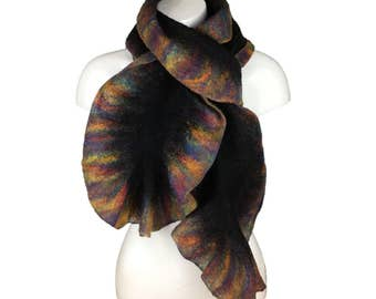 Black wet felted scarf with rainbow ruffled border
