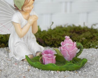 Fairy Garden Tea Set, rose tea cups, tea pot, miniature handcrafted Fairy Tea Party sign on wire stake