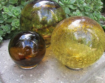Glass Fishing Floats Gazing Balls set of 3 with stands