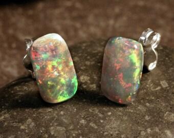 Sterling Silver Australian Opal Rectangle Stud Earrings #101-00264