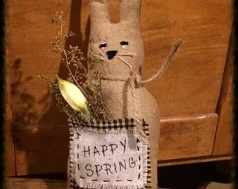 Primitive Easter Decor | Primitive Bunny Rabbit | Primitive Spring Decor | Primitive Label | Hand stitched | Homespun | Grungy Bunny |