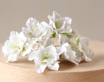 wedding white flowers for the bride hairstyles, flower girls , bridesmaid. Hair bobby pin flowers. White azalea. Set of 5.