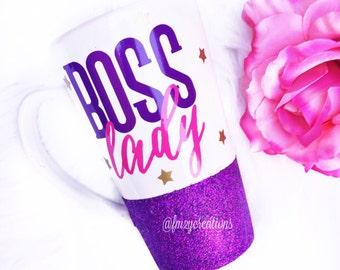 Boss Lady Coffee Mug // Girl Boss Mug// Christmas gift // Gifts for Her // Boss Gift // Coffee Lover // Glitter coffee Mug // Best Friend Gi