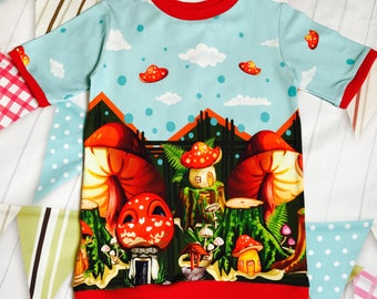 Toadstool woodland print T-shirt age 2-3yrs (98cms) boys/girls top -unisex T-shirt-woodland print-toadstool top-toddler T-shirt- childrens