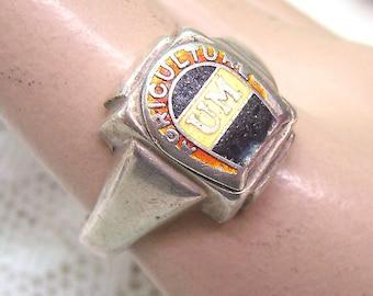 """Sale...Vintage Sterling Silver """"AGRICULTURE"""" School Ring...University Ring...Enamel UM...Size 10...Signed FELDSTED Sterling"""