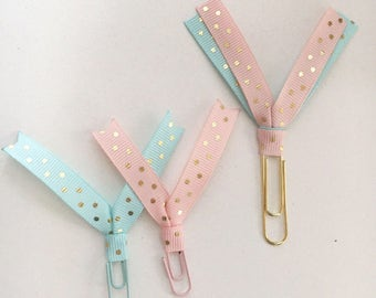Set of 3 Pink and Mint Ribbon Paperclips
