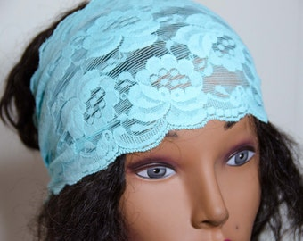 """Stretch Lace Hair Wrap -Adult/Teen Bandana Measures 25"""" by 6""""  Lace Headband * Lace Dolly Bow * OOAK * Gift For Her"""