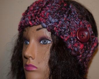Chunky Head Band/ Ear Muff - Hand Spun Art Yarn - Gift for Her - Snow Gear - Stocking Stuffer - Super Warm Adult Size