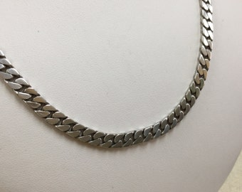 Vintage 925 Sterling Silver Link Chain Necklace With Hidden Clasp!!!