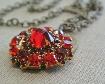 Red Rhinestone Necklace, Pendant, Repurposed Brooch, Upcycled Rhinestone and Brass Tag, Great Gift for her, One of a Kind By UPcycled Works