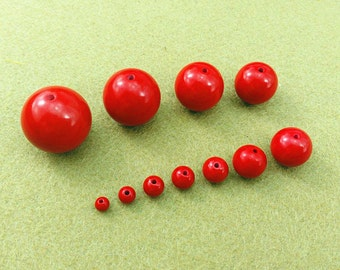 Cinnabar beads, zinnober, vermilion, round beads, smooth beads, semi precious, jewelry supplies, components, 120pcs or 20pcs as a set